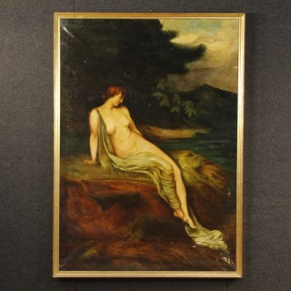Italian Painting Oil On Canvas Signed And Dated Landscape With Female Nude From 20th Century