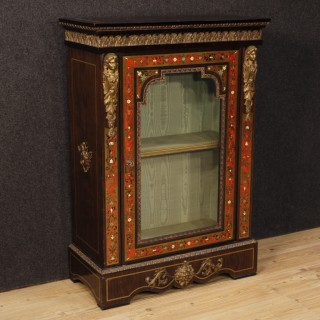 French Display Cabinet In Painted Wood With Brass and Bronzes In Boulle Style From 20th Century