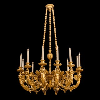Italian 19th Century Gold Carved Wood Chandelier