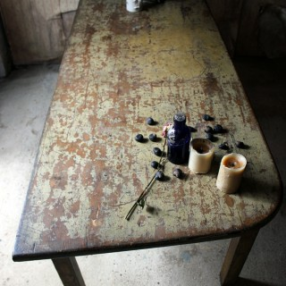 A Large & Wonderful Early Victorian Painted Pine Dairy Table; Ex Lowther Castle c.1840