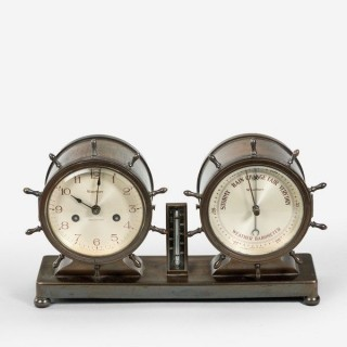Novelty nautical clock and barometer set by Westbury Clock Co USA