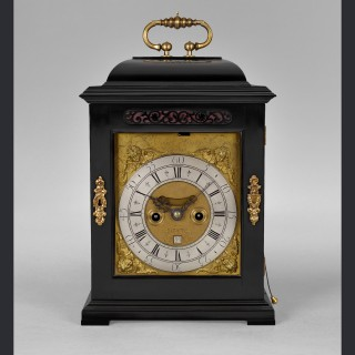 A William & Mary, ebony veneered, quarter repeating spring table clock by ROBERT HODGKIN, London c1695