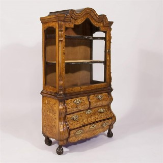 A Mid 18th Century Dutch Marquetry Miniature Cabinet on Chest