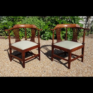 A Pair of 18th Century George III Period Mahogany Corner Chairs