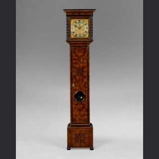 A rare Charles II parquetry longcase clock of small proportions by JAMES (JACOBUS) MARKWICK London c1675