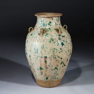 LARGE GREEN AND WHITE GLAZED SOUTH CHINA STORAGE JAR