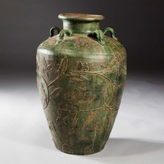 LARGE GREEN GLAZED SOUTH CHINA STORAGE JAR