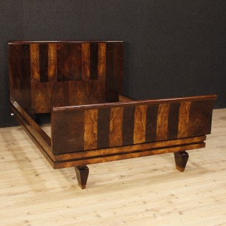 Italian Double Bed In Palisander And Burl Walnut In Art Déco Style From 20th Century