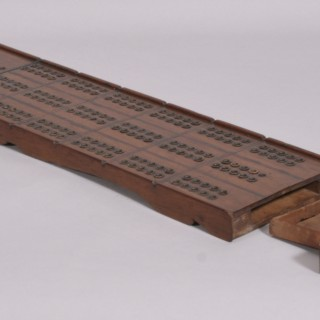 Antique Treen 19th Century Mahogany Cribbage Board for Three Players