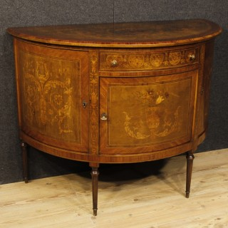 Italian Demilune Sideboard In Inlaid Wood In Louis XVI Style From 20th Century