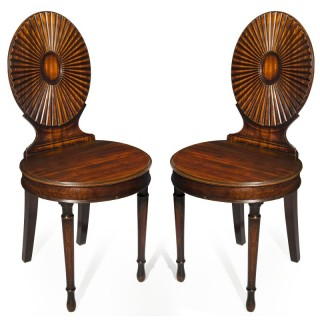 Fine Pair of George III Neoclassical Hall Chairs, in the Manner of Mayhew and Ince
