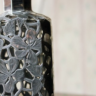 An Elegant Late 19thC American Glass & Applied Silver Perfume Bottle by Alvin Mfg. Co. 1886