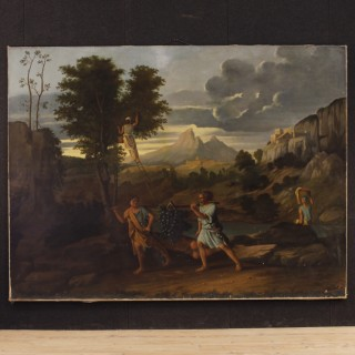 Antique French Painting Abundance Landscape With Characters Signed And Dated 1877