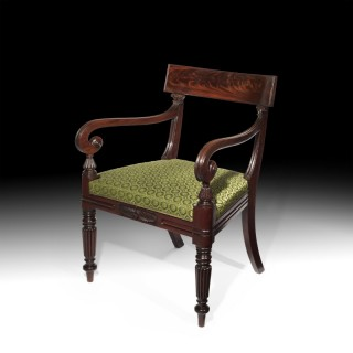 Regency Mahogany Open Armchair