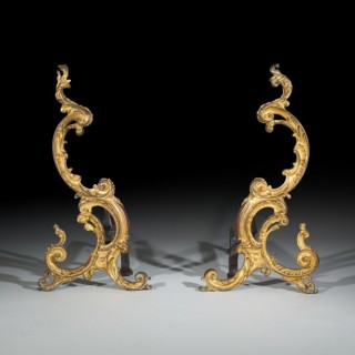 Pair of Large George III Rococo Gilt Bronze Andirons