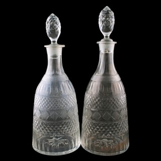 Pair of Cut Glass Decanters