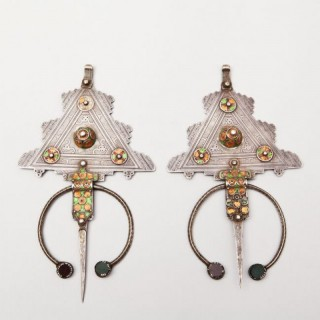 A PAIR OF MOROCCAN SILVER CLOAK PINS