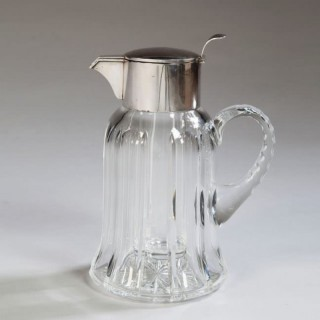 ART DECO ASPREY .925 SILVER AND CUT CRYSTAL LEMONADE JUG