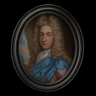 Charles Hinton, wearing pink coat with draped blue sash and white jabot, powdered wig, landscape background
