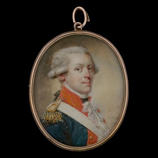 Leonhard (or Lennart) Alexander Reuterskiöld (1767-1832), wearing blue uniform coat, with scarlet facings and a gold-lace and gold-bullion epaulette, with a white shoulder or sword belt