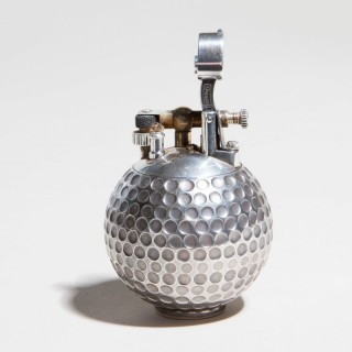 DUNHILL SOLID SILVER ' UNIQUE ' GOLF BALL CIGAR TABLE LIGHTER