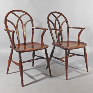 A Matched Pair of Regency Gothic Laceback Windsor Armchairs