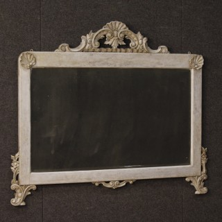 Italian Mirror In Carved And Painted Wood From 20th Century