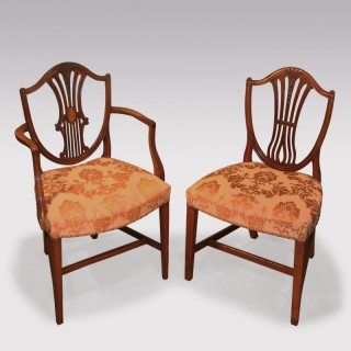 A matched set of ten 18th Century Hepplewhite Period Mahogany dining chairs