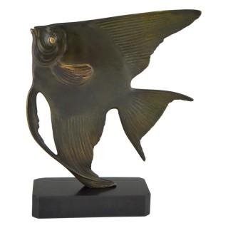 Art Deco bronze sculpture of a fish