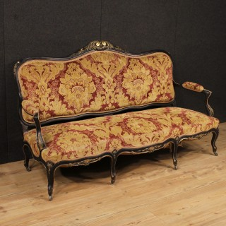 20th Century French Sofa In Damask Velvet