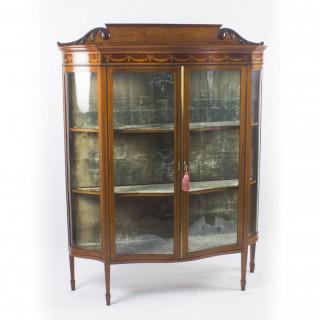 Antique Edwardian Serpentine Inlaid Mahogany Display Cabinet C1900