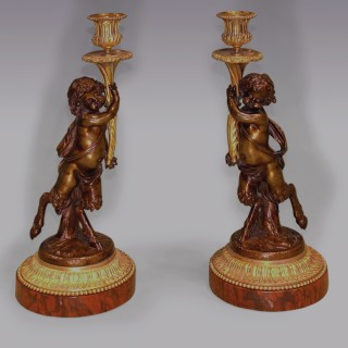 Pair of Louis XVI Style 'dancing fawn' Candlesticks.
