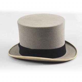 Antique Grey Felt Top Hat by Scott & Co C1920