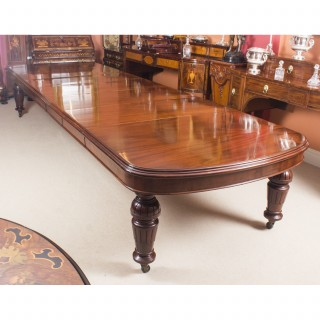 Antique 15ft Victorian Flame Mahogany D End Extending Dining Table 19th C