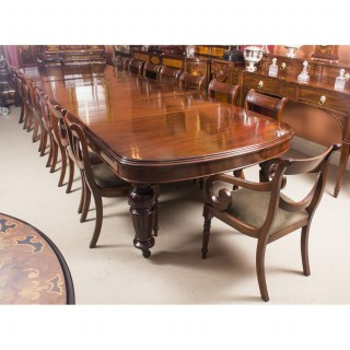 Antique Victorian D-end Mahogany Dining Table 19th C & 16 chairs