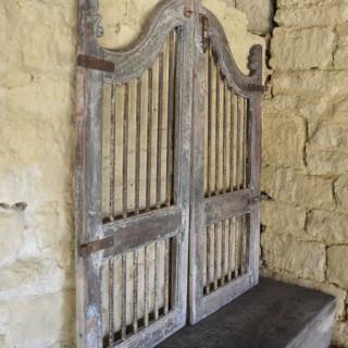 A pair of vintage wooden garden gates