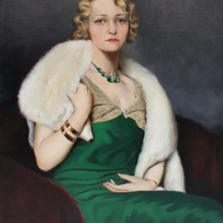 Portrait of a Woman in a Green Dress and Fox Fur by Istvan Szapudi-Laendler (1899–1945)