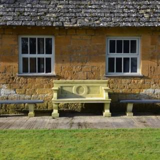 A slate topped garden bench