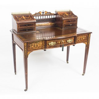 Antique Rosewood and Marquetry Carlton House Desk c.1900