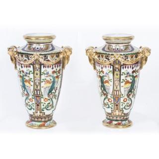 Vintage Pair Noritake Hand Painted Porcelain Vases C1920