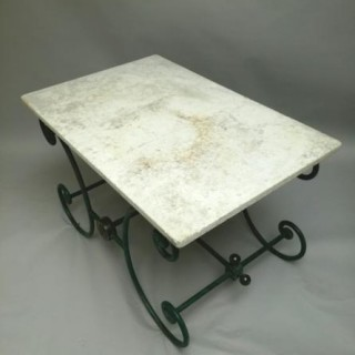 French boulangerie table with marble top