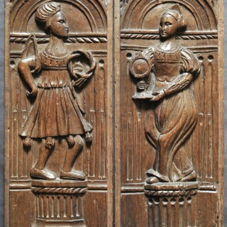 Pair of 16th-century oak panels of Joseph of Arimathaea and St Clare