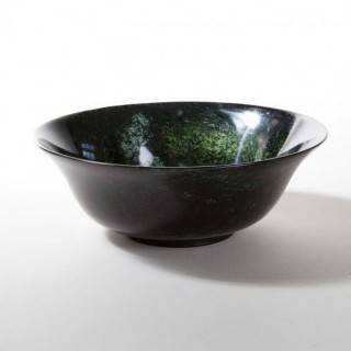 A CHINESE SPINACH GREEN JADEITE BOWL