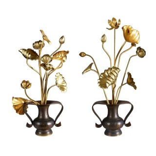 A COLLECTION OF 20 IKEBANA GILTWOOD FLOWERS IN BRONZE MIMIKUCHI FLYING HANDLE VASES