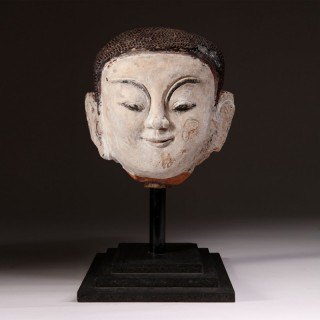 BURMESE SHAN STATE 15/16TH CENTURY TERRACOTTA & STUCCO HEAD OF BUDDHA SHAKYAMUNI