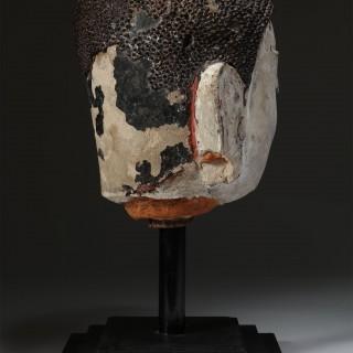 BURMESE SHAN STATE 15/16TH CENTURY TERRACOTTA & STUCCO HEAD OF BUDDHA SHAKYAMUNI