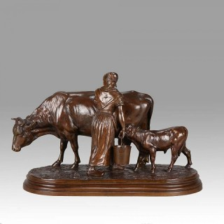 Animalier Bronze Entitled 'Milkmaid with Cow & Calf' by Isidore Bonheur
