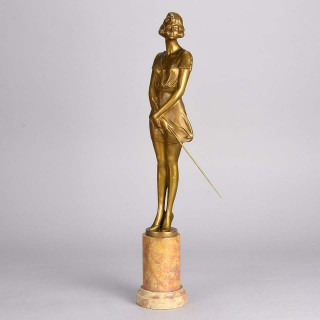 Art Deco Bronze figure entitled 'Riding Whip' by Bruno Zach