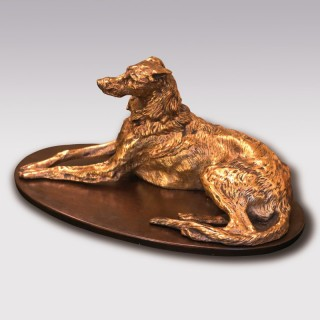 19th Century bronze and ormolu dog Paperweight
