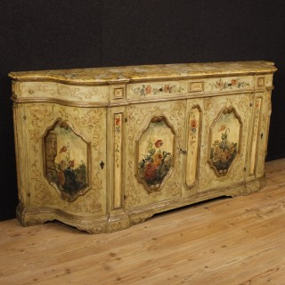 Venetian Sideboard In Lacquered And Painted Wood With Floral Decorations From 20th Century